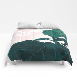 Blush Green Fiddle Leaf Dream #1 #tropical #decor #art #society6 Comforters
