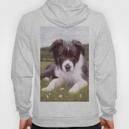 Border Collie Puppy Painting Hoody