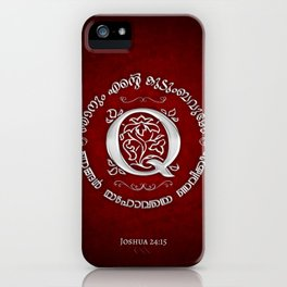 Joshua 24:15 - (Silver on Red) Monogram Q iPhone Case