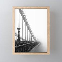 Bridge lost in fog Black and White Framed Mini Art Print