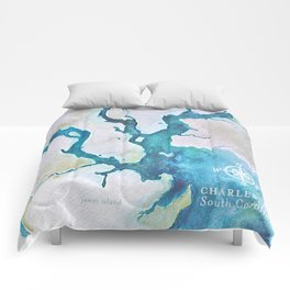 Charleston South Carolina Watercolor Map Typography Art Comforters