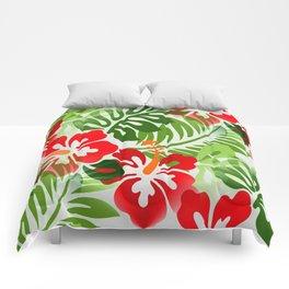 Hawaiian Flowered Shirt Pattern Red Green Comforters