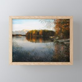 Boats by the Lake in October Framed Mini Art Print