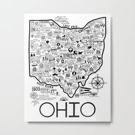 Map Of Ohio Metal Print