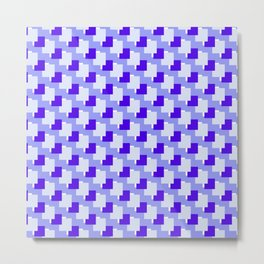 Blue Squares Abstract Geometric Pattern Metal Print