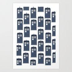 Doctor WHO Tardis Pattern Art Print