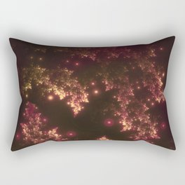 Fractal Leaves Red Glow Rectangular Pillow
