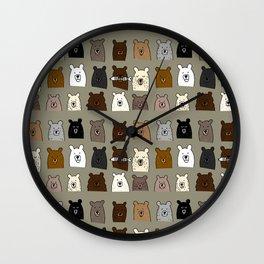 Bear Portraits in Green Wall Clock