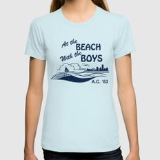 At the Beach with the Boys Light Blue MEDIUM Womens Fitted Tee