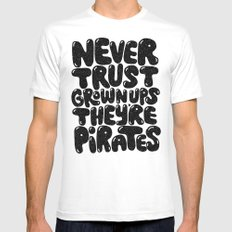 NEVER TRUST GROWN UPS MEDIUM Mens Fitted Tee White