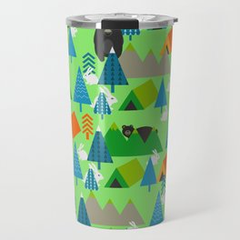 Forest with cute little bunnies and bears Travel Mug