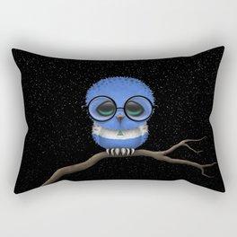 Baby Owl with Glasses and Nicaraguan Flag Rectangular Pillow