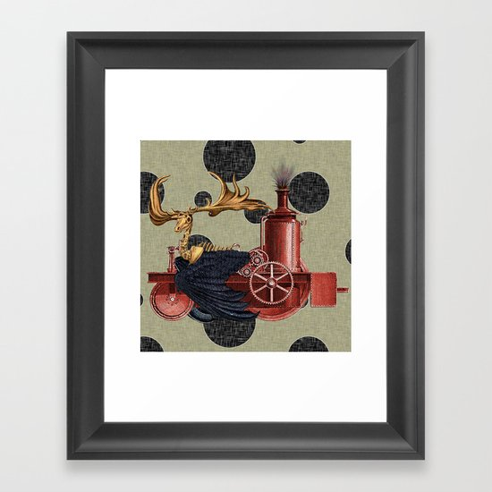 Stitchpunk Caribou Framed Art Print