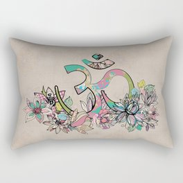 OM symbol  composition vintage scrapbook style with flowers Rectangular Pillow