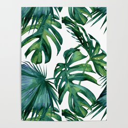 Classic Palm Leaves Tropical Jungle Green Poster