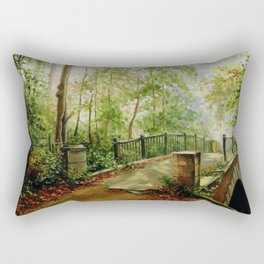 Old bridge in the forest Rectangular Pillow