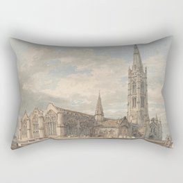 """J.M.W. Turner """"North East View of Grantham Church, Lincolnshire"""" Rectangular Pillow"""