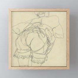 """Egon Schiele """"Girl Bending Forward, Back View"""" Framed Mini Art Print"""
