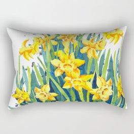 Cut Daffodils Watercolor Painting Rectangular Pillow