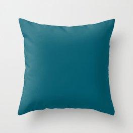 Sherwin Williams Trending Colors of 2019 Oceanside (Dark Aqua Blue) SW 6496 Solid Color Throw Pillow