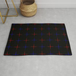 Bright dark blue and red stars on a black background. Rug
