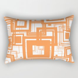 Mid Century Modern Muted Orange 1970s Style Retro Geometric Squares Rectangular Pillow