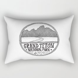 Grand Teton National Park Illustration Rectangular Pillow