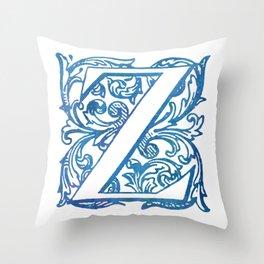 Letter Z Elegant Vintage Floral Letterpress Monogram Throw Pillow