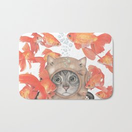 Scuba Cat Among the Fishes Bath Mat