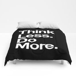 Think Less Do More Inspirational Wall Art black and white typography poster design home wall decor Comforters