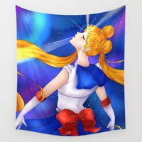 makeup Wall Tapestries featuring Moon Prism Power MAKEUP by Nekophelia Art