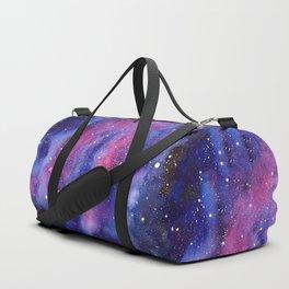 Watercolor Galaxy Nebula Pink Purple Sky Stars Duffle Bag