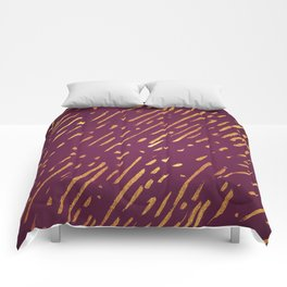 Fuchsia Golden Stripes Comforters