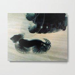 Dog on a Leash Metal Print