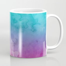 Modern bright summer turquoise pink watercolor ombre hand painted background Coffee Mug