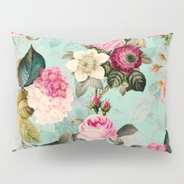 Vintage & Shabby Chic - Summer Teal Roses Flower Garden Pillow Sham