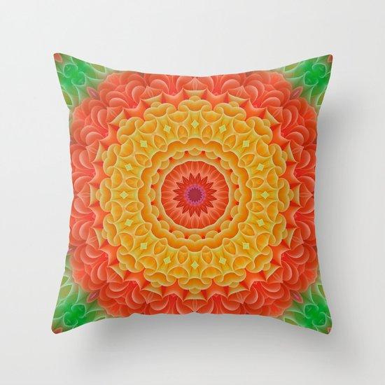 Orange/Yellow/Green K-scope Throw Pillow