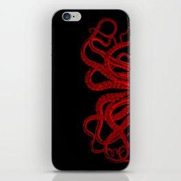Red Vintage Octopus  Tentacles Illustration iPhone Skin