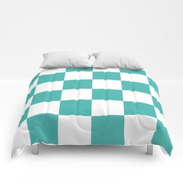 Large Checkered - White and Verdigris Comforters