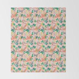 Lemurs in Pink Jungle Throw Blanket