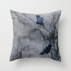 Crows In A Gothic Gray Wash Throw Pillow