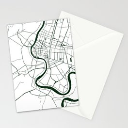 Bangkok Thailand Minimal Street Map - Forest Green and White Stationery Cards