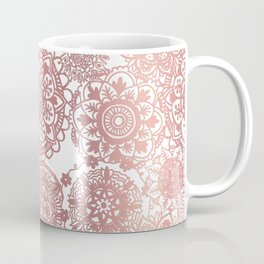Rose Gold and White Mandala Pattern Coffee Mug