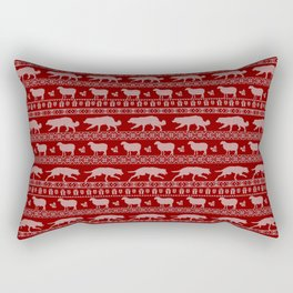 Ugly christmas sweater | Border collie red Rectangular Pillow