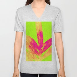 Green and Ultra Bright Coral Fern Unisex V-Neck