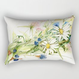 Bouquet of Wildflowers Original Colored Pencil Drawing Rectangular Pillow