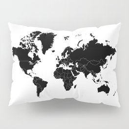 Minimalist World Map Black on White Background Pillow Sham