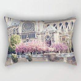 Cherry blossoms in Paris, Notre Dame Viwe Rectangular Pillow
