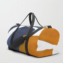 Colorful Minimalist Mid Century Modern Shapes Navy Blue Yellow Ochre Sharp Shapes Duffle Bag