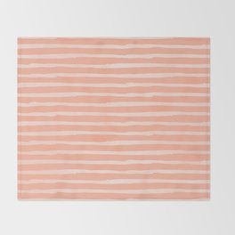 Sweet Life Thin Stripes Peach Coral Pink Throw Blanket